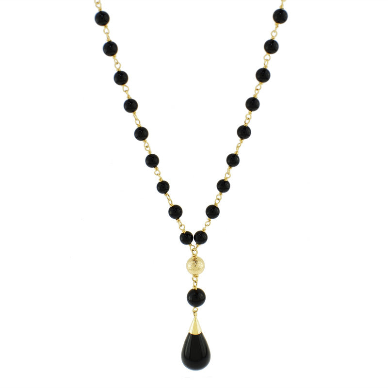 14KY BLACK ONYX LINK Y NECKLACE 18""