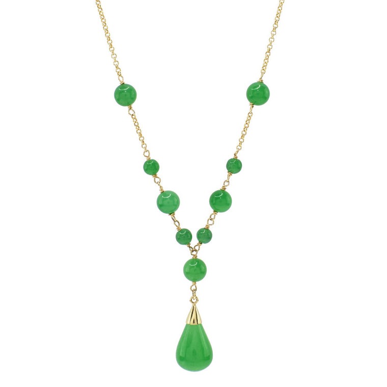 14KY GREEN JADE ROLO CHAIN NK 18