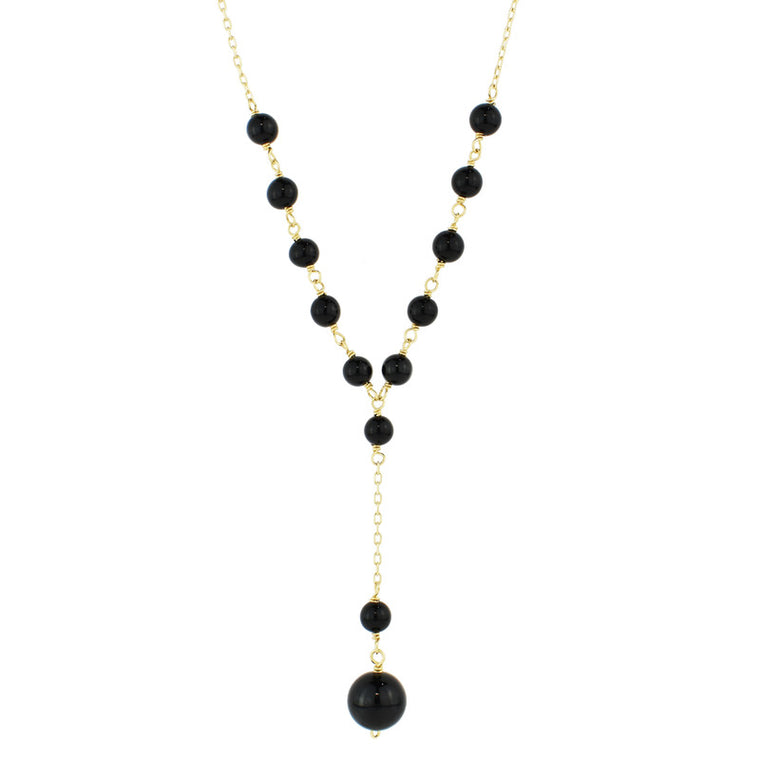 14KY BLACK ONYX BEADS Y NECKLACE 17