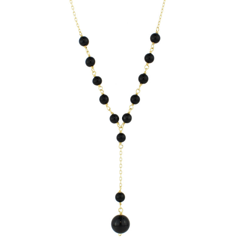14KY BLACK ONYX BEADS Y NECKLACE 17""
