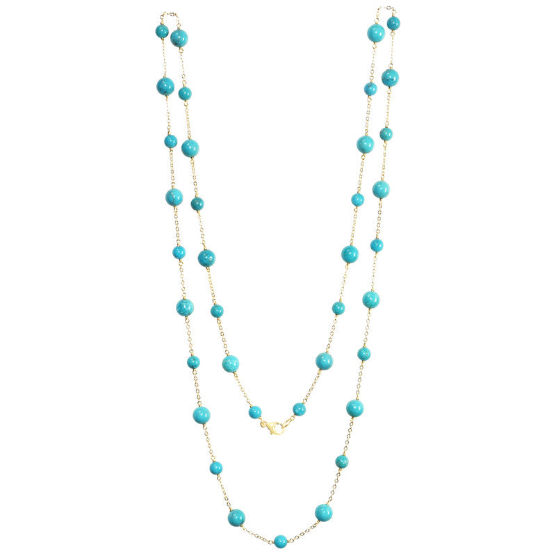 14KY MUTLI STABILIZED TURQUOISE NECKLACE 36""