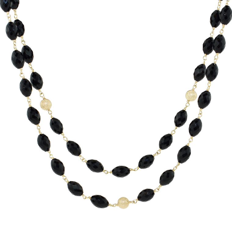 14KY FACETED/OVAL BLACK ONYX LAYERED 2R NECKLACE 18-20