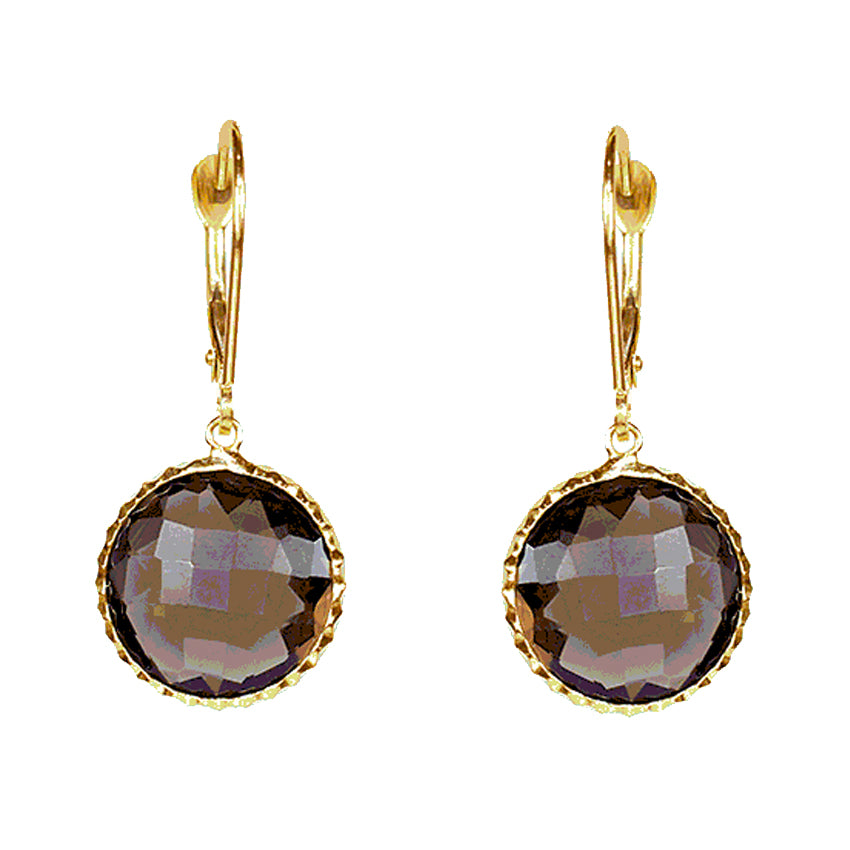14KY SMOKY QZ FANCY BEZEL LEVERBACK EARRING