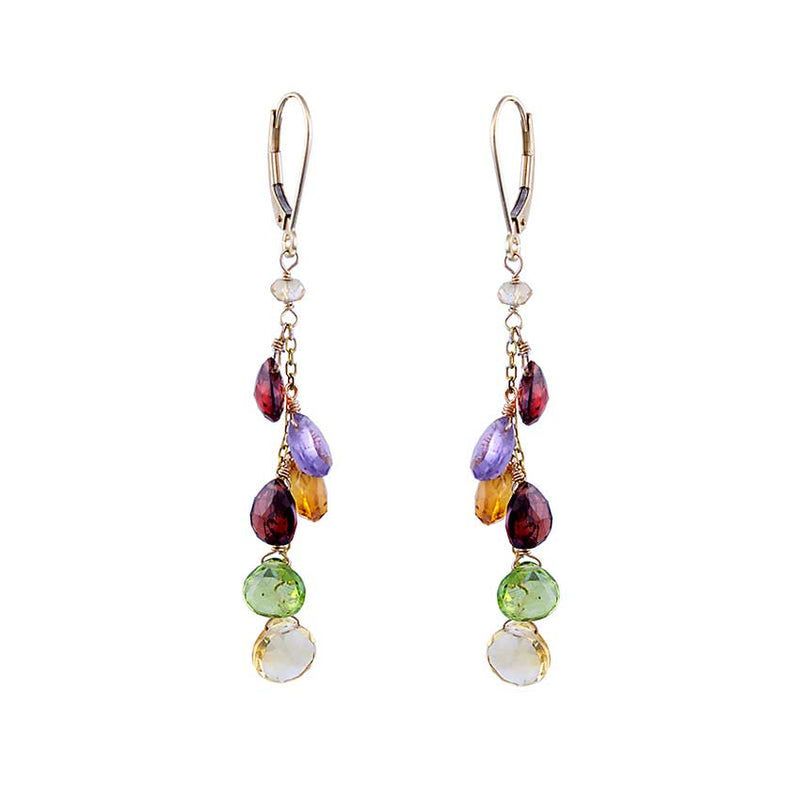14KY MULTI GEMSTONE DROP LEVERBACK EARRING