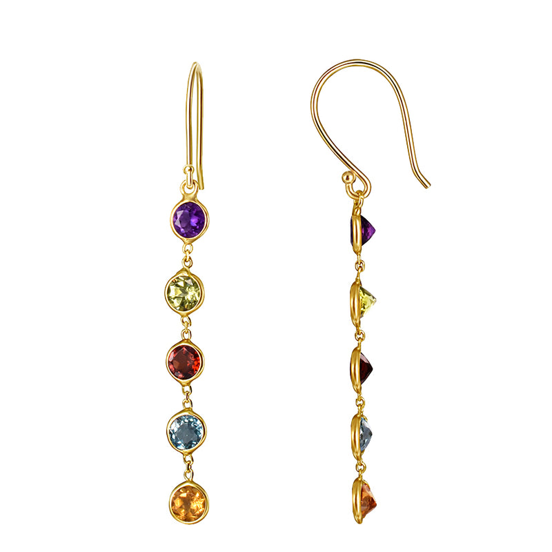 14KY MULTI COLOR GEMSTONE BEZEL EARRING