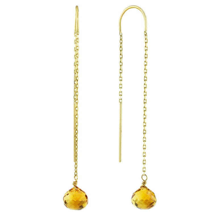 14KY CITRINE THREADER EARRING