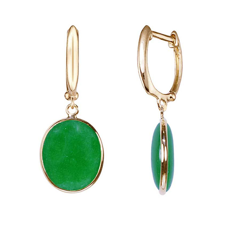 14KY GREEN CHINESE JADE BEZEL EARRINGS