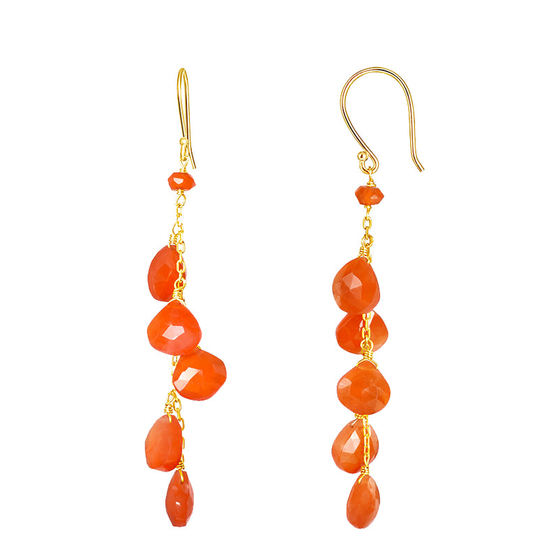 14KY CARNELIAN FACETED DROP EARRING