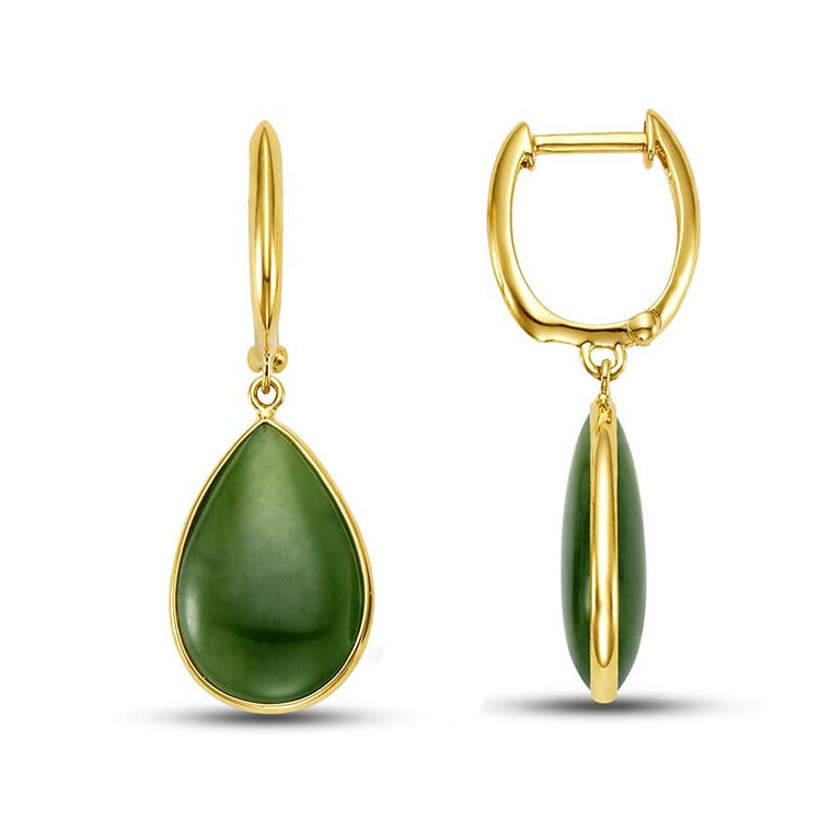 14KY NATURAL NEPHRITE JADE PEAR SHAPE EARRINGS