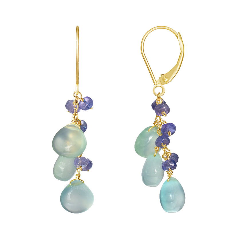 14KY TANZANITE CHALCEDONY LEVERBACK EARRING