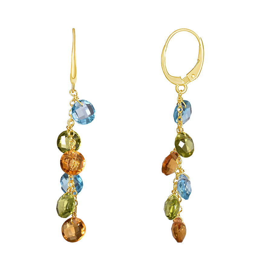 14KY MULTI GEMSTONE COIN LEVERBACK EARRING