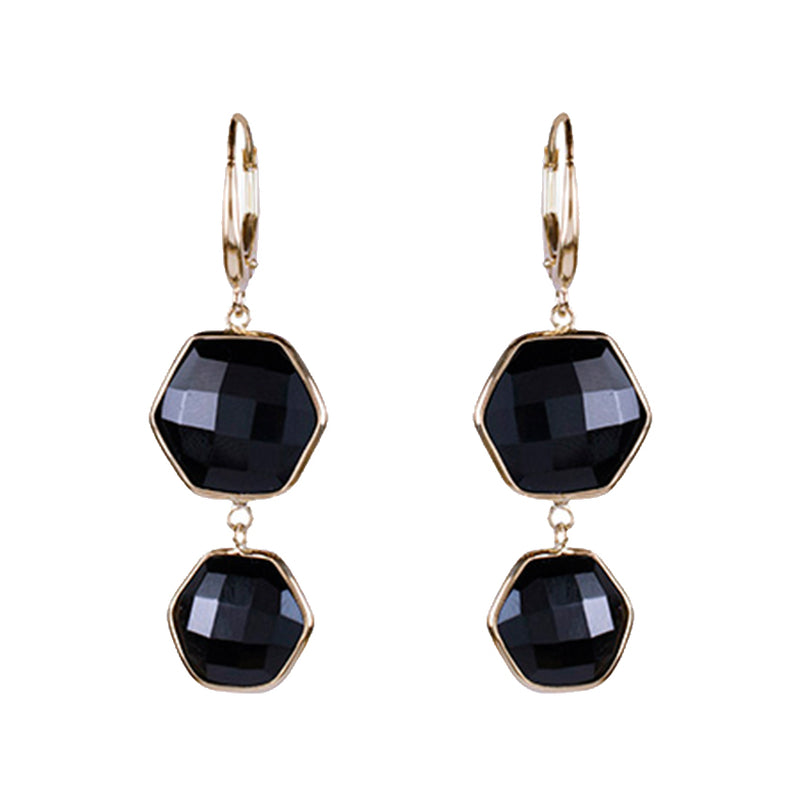 14KY BLACK ONYX DOUBLE HEXAGON BEZEL RD LEVERBACK EARRING