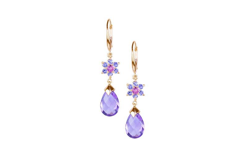 Tanzanite, Pink Tourmaline & Amethyst Earrings