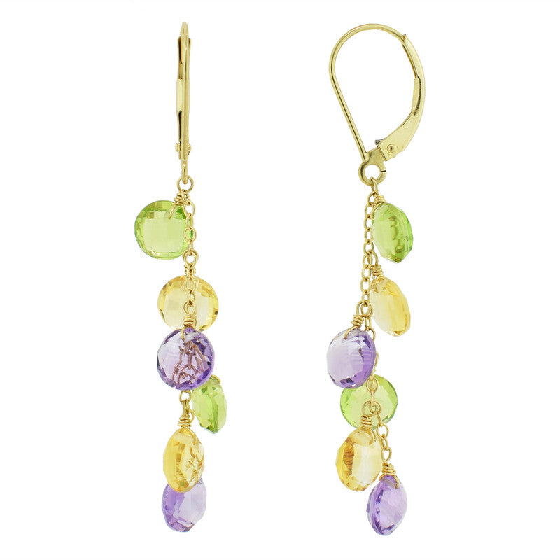 14KY MULTI GEMSTONE COIN DROP LEVERBACK EARRING