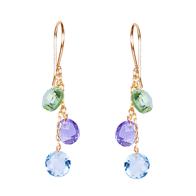 14KY MULTI GEMSTONE TRIPLE COIN HOOK EARRING