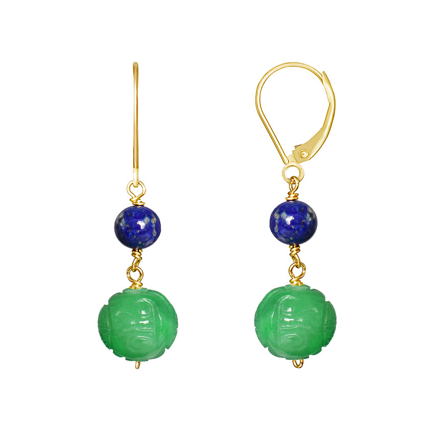 14KY LAPIS CARVED GREEN JADE LEVERBACK EARRING