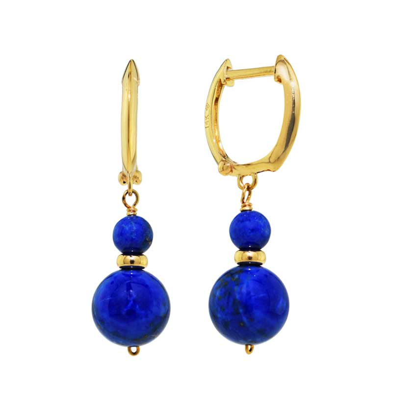 14KY LAPIS DUAL BALL GOLD WIRE HOOP EARRINGS