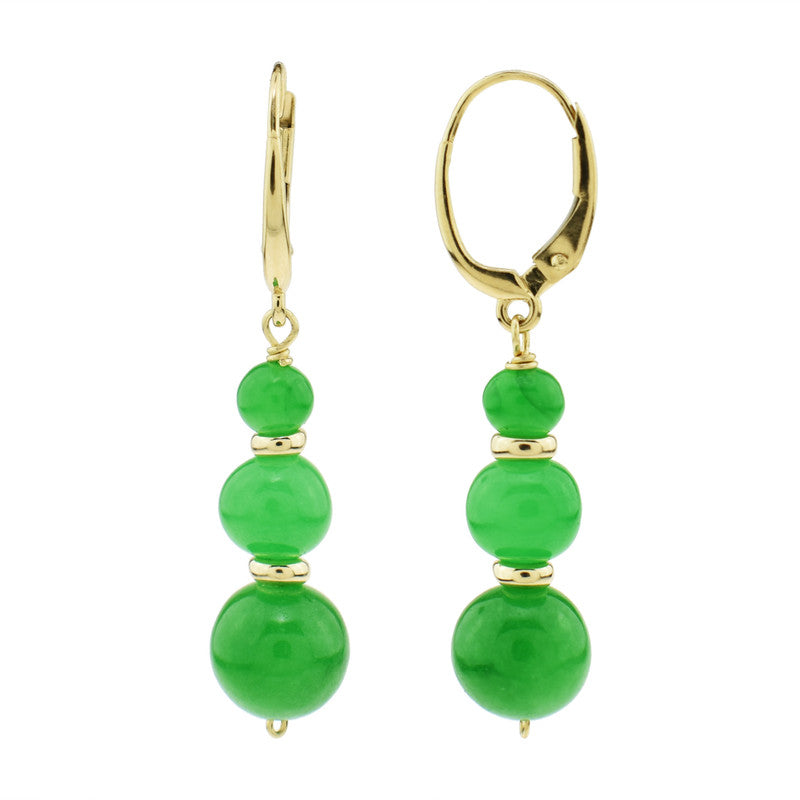 14KY GREEN JADE GRADUATED BEAD DROP EARRING