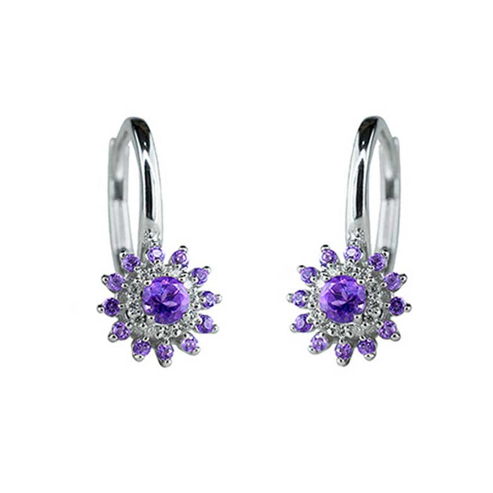 14KW AMETHYST VS DIAMOND LEVERBACK EARRINGS