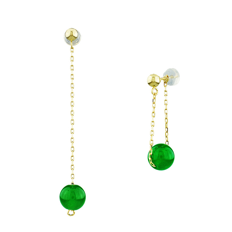 14KY GREEN JADE BEAD DANGLING EARRINGS