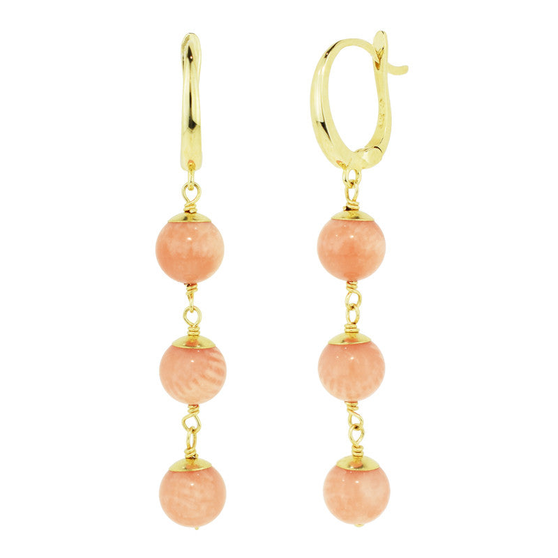 14KY ANGEL SKIN CORAL LINEAR EARRINGS
