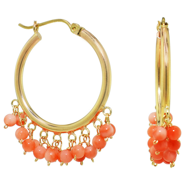 14KY ANGEL SKIN CORAL CLUSTER PIN CATCH HOOP
