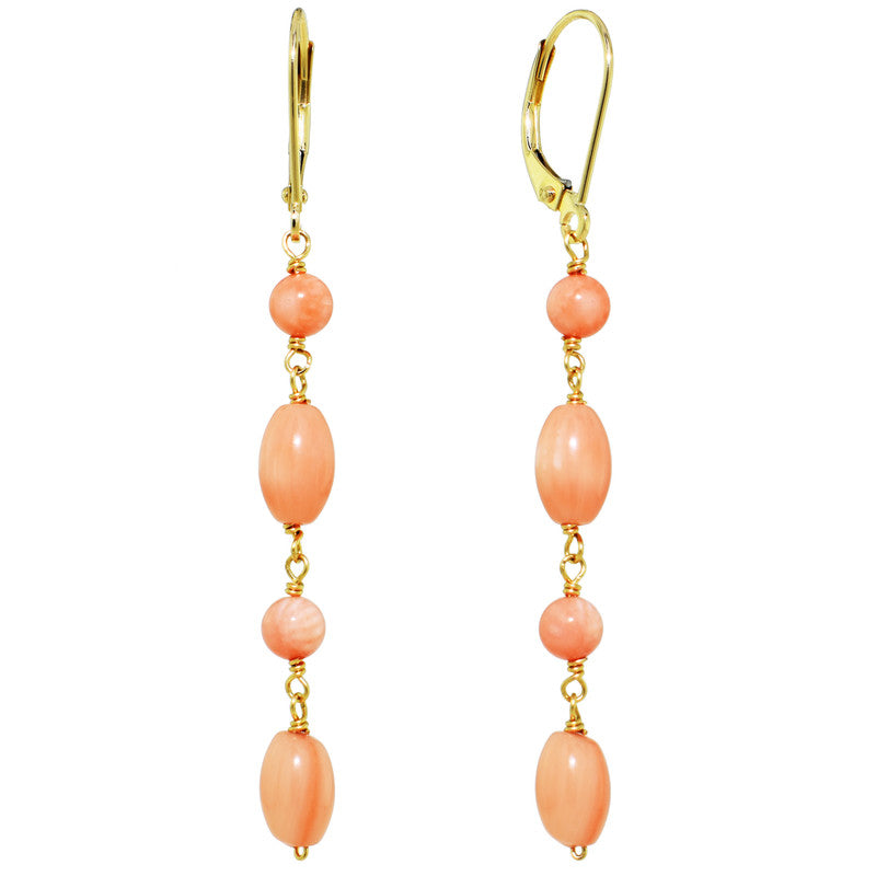 14KY ANGEL SKIN CORAL LINEAR LEVER BACK EARRINGS