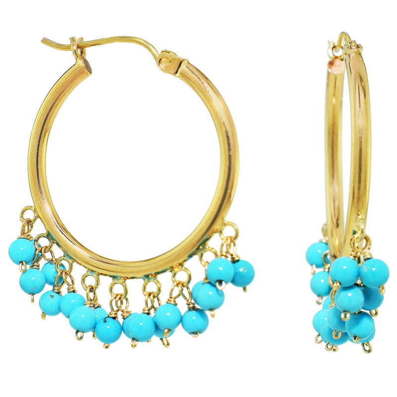 14KY TURQUOISE CLUSTER HOOP EARRING