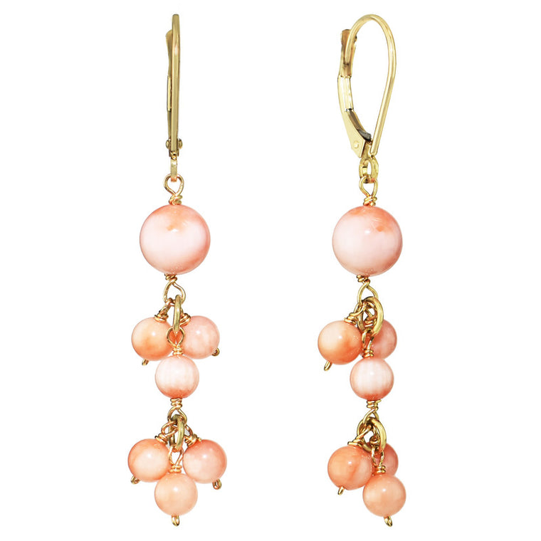 14KY ANGEL SKIN CORAL DANGLE LEVERBACK EARRING