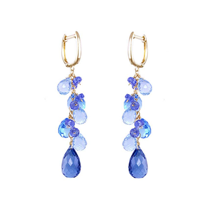 14KY MULTI BLUE TOPAZ TANZANITE EARRING