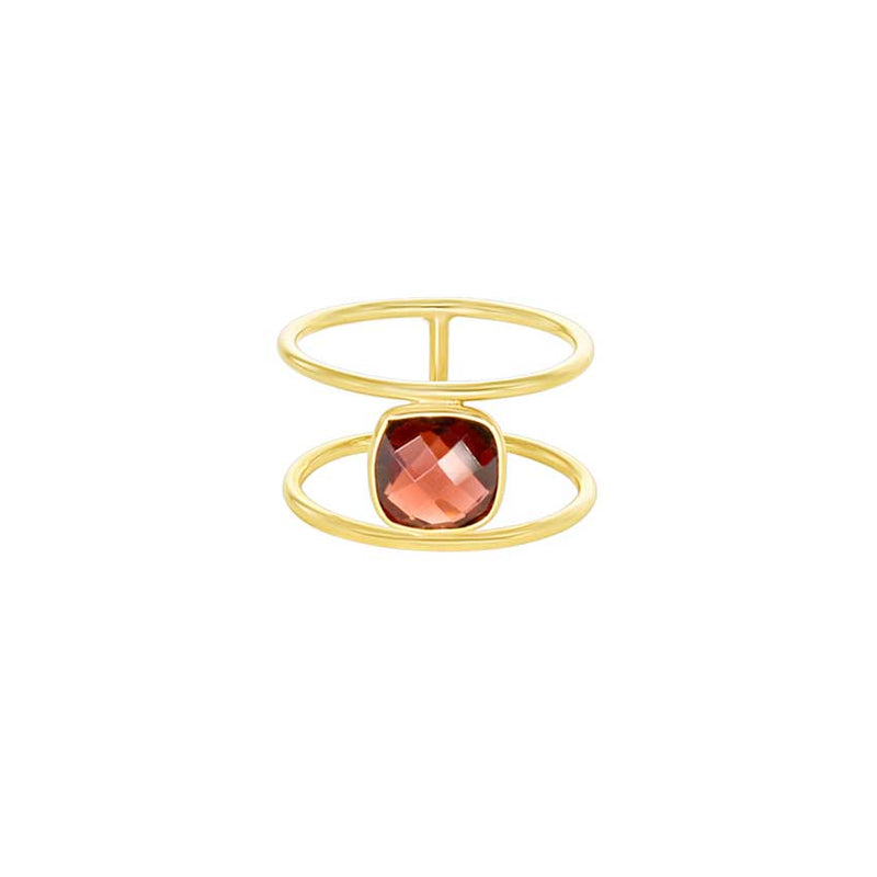 Garnet Bezel Open Band Ring