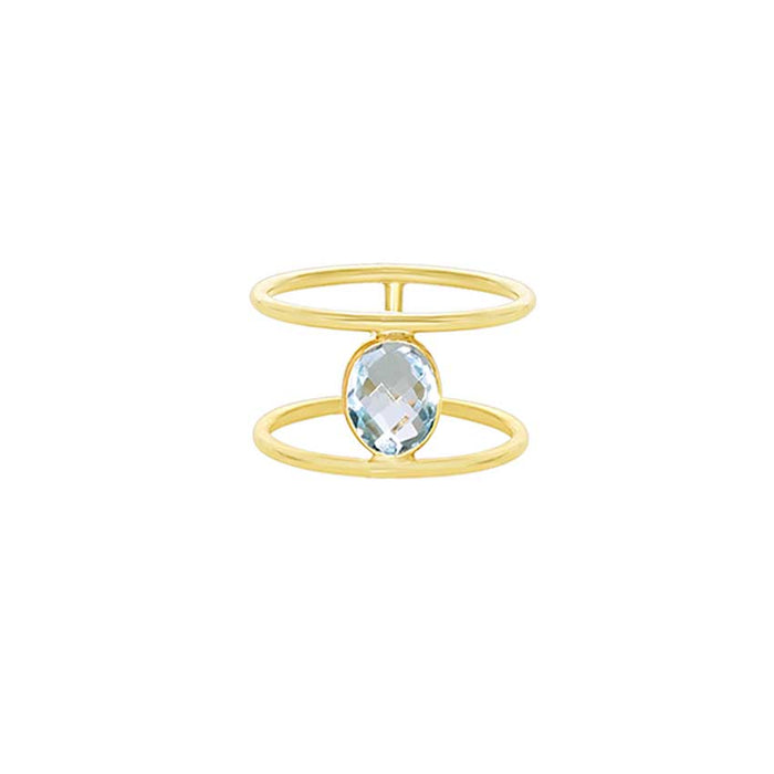 14KY FACETED OVAL TOPAZ BEZEL RING