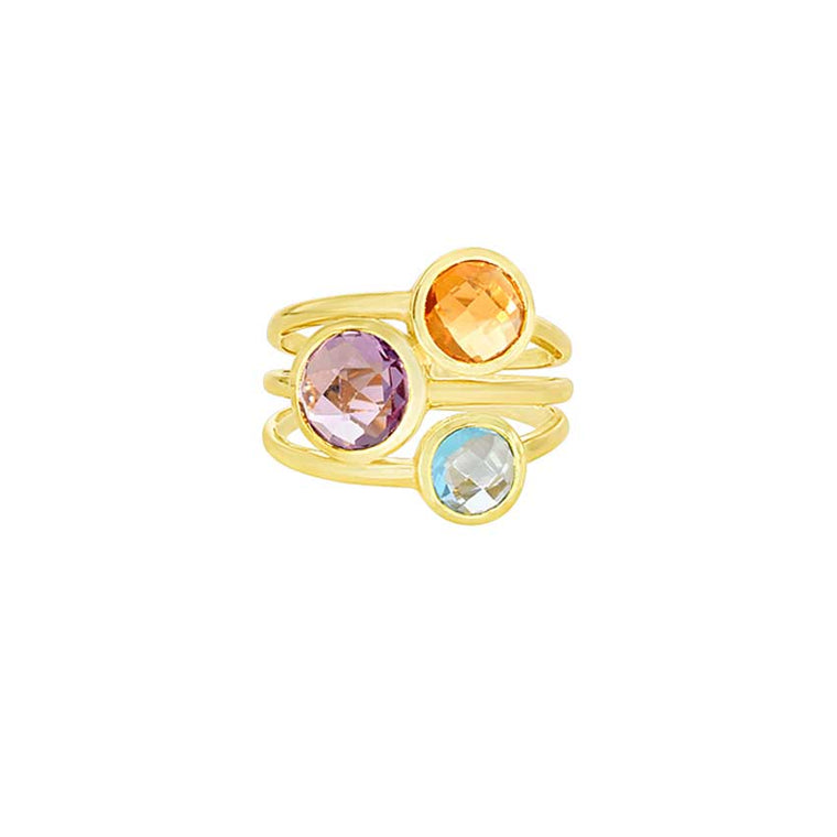 14KY MULTI GEMSTONE 3-LINE RING