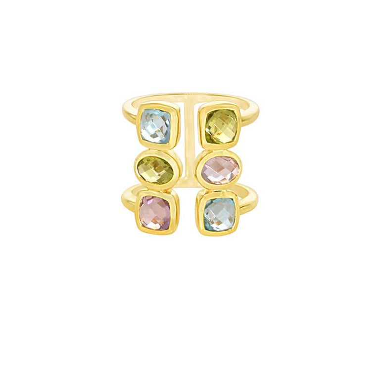 14KY MULTI GEMSTONE OPEN RING