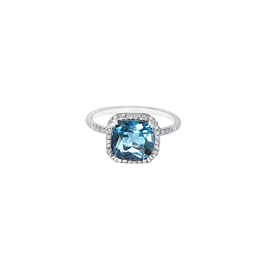 14KW LONDON BLUE TOPAZ CUSHION VS DIAMOND RING