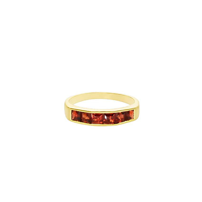 14KY GARNET 6-PC SQ BAND RING CLOSED BACK