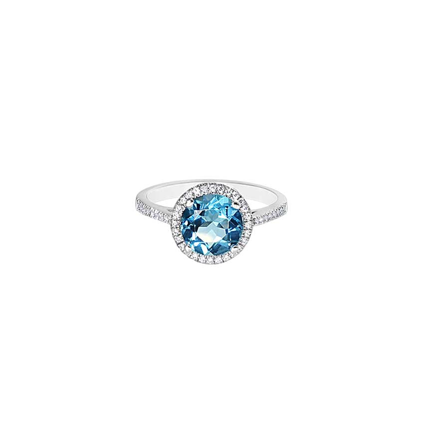 14KW SWISS BLUE TOPAZ ROUND VS1 DIAMOND RING