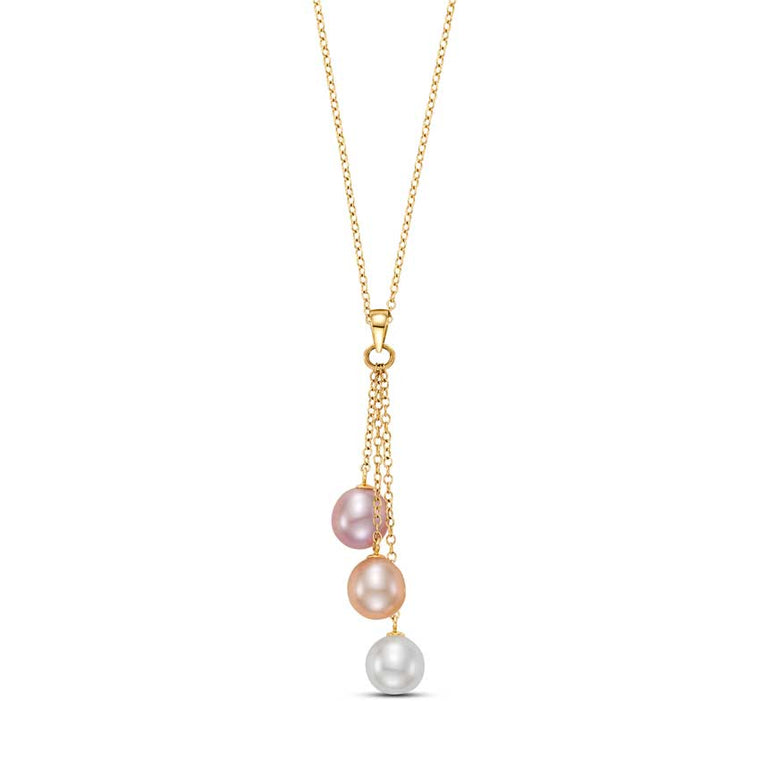 14KY MULTI PINK PEARL 3 DROP NECKLACE 18