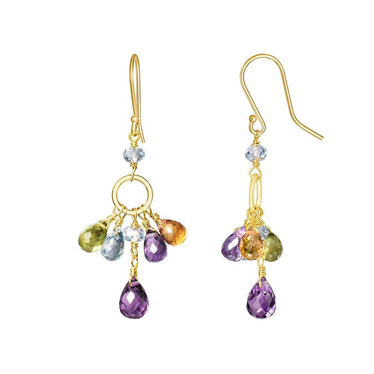 14KY FACETED AMETHYST CITRINE PERIDOT TOPAZ EARRIN