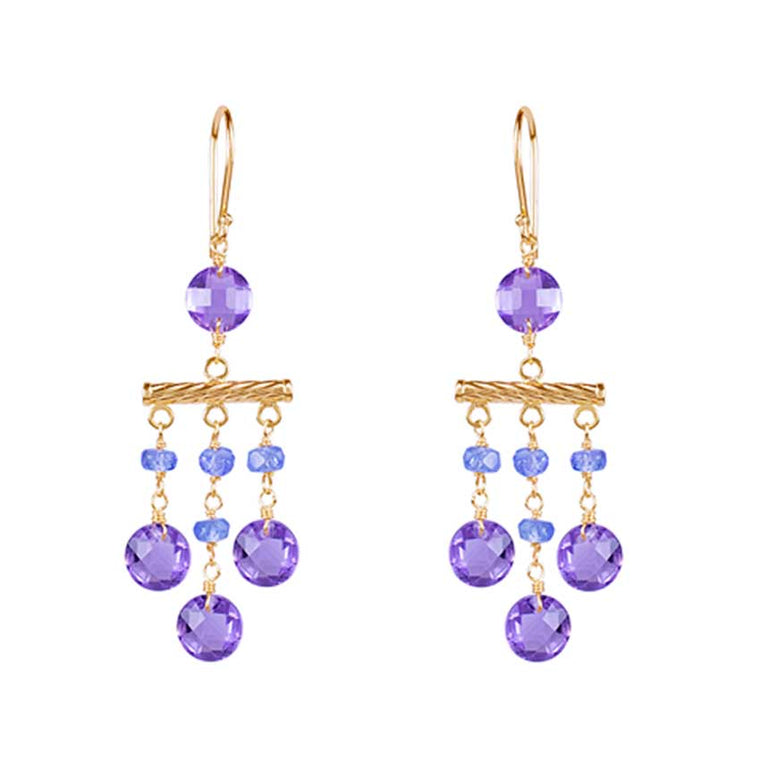 14KY TANZANITE AMETHYST COIN DANGLE HOOK EARRING