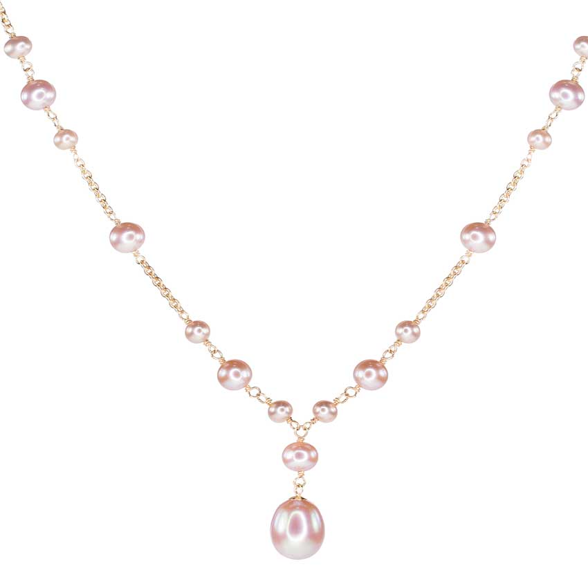 14KY PINK FWP BEAD NECKLACE W/ OBL DROP 17""