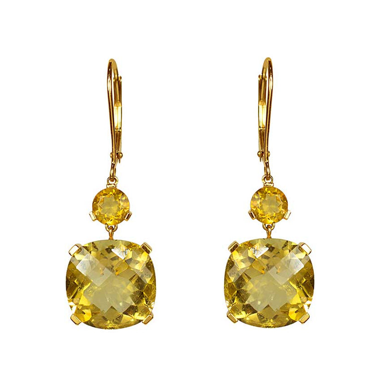 14KY CITRINE CUSHION DANGLE LEVER BACK EARRING