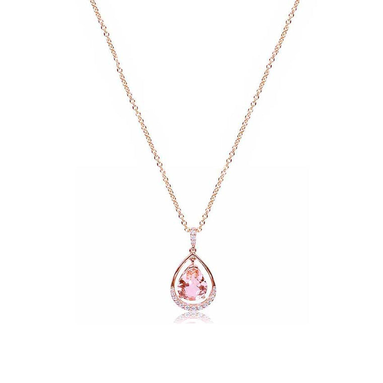 14KR VS DIA MORGANITE PEAR SHAPE PEND NECKLACE