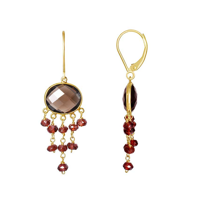 14KY SMOKY QZ GARNET 5 DANGLE LEVERBACK EARRING