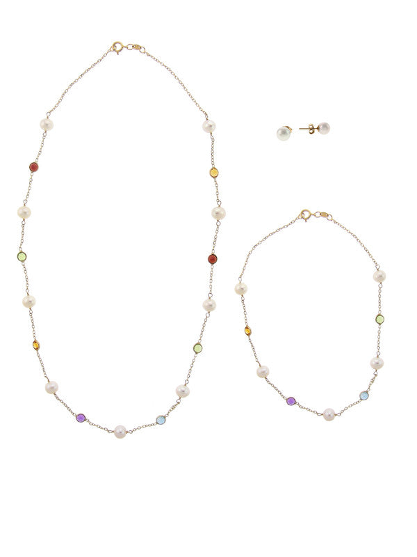 14KY WHITE PEARL MULTI GEMSTONE STATION SET