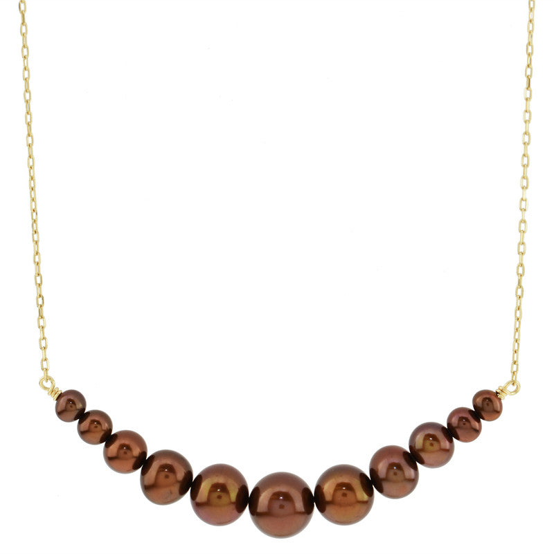 14KY CHOCOLATE PEARL BAR NECKLACE 18""