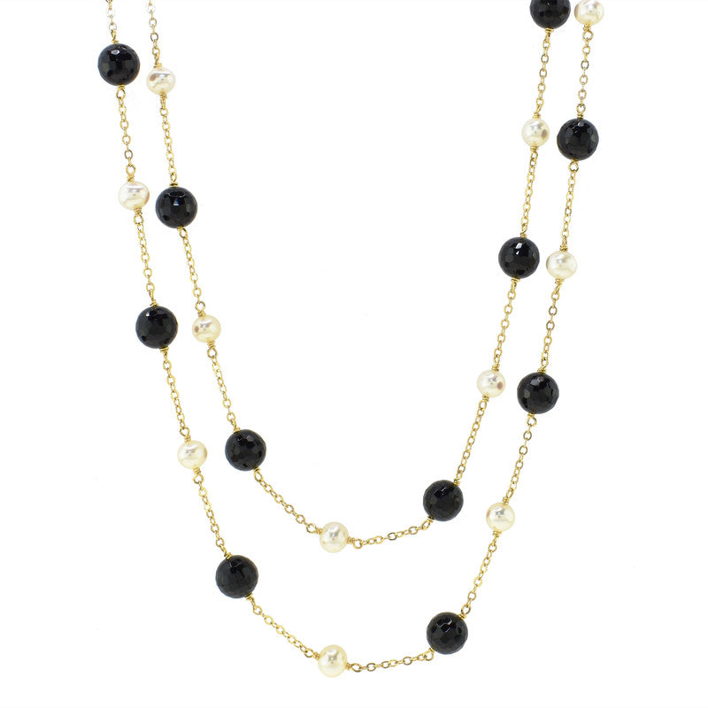 14KY BLACK ONYX WHITE PEARL STATION NECKLACE 36""