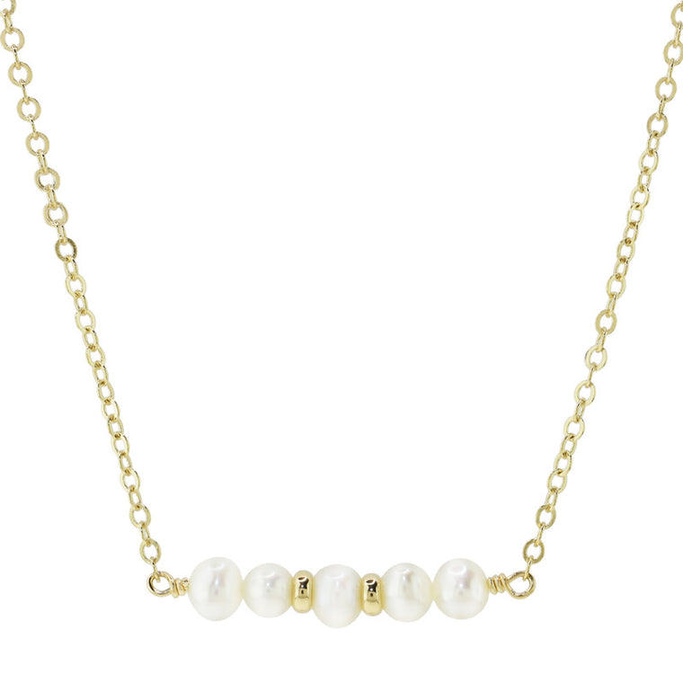 14KY WHITE PEARL BAR NECKLACE 14