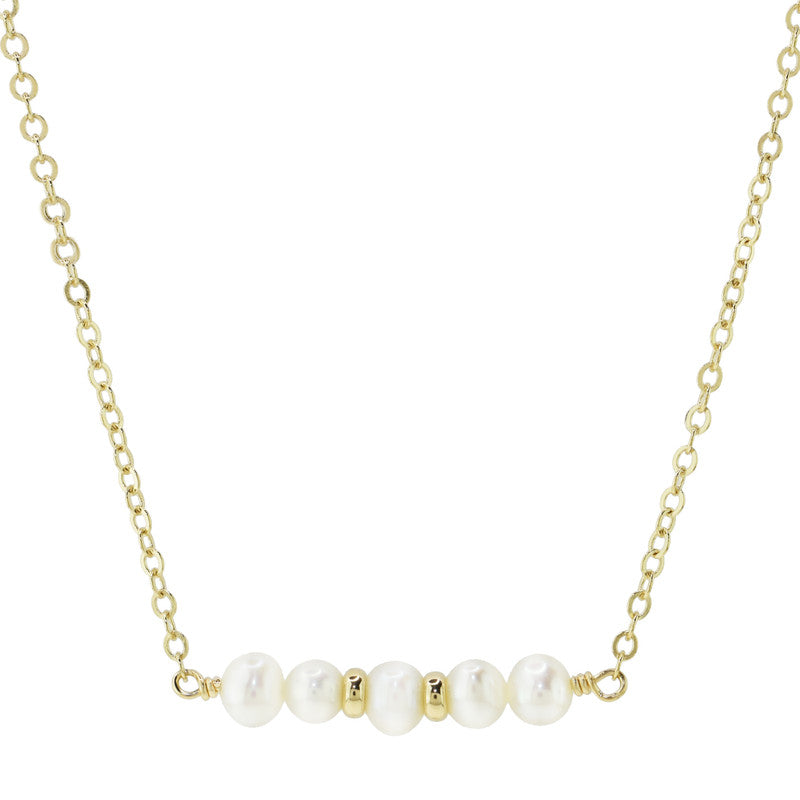"14KY WHITE PEARL BAR NECKLACE 14""/15""/16"""