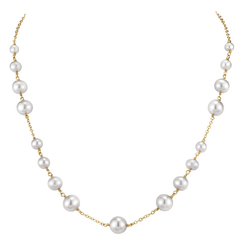 14KY WHITE PEARL STATION NECKLACE 18""